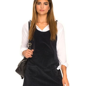 Bridget Pinafore Dress in Baby Cord Charcoal Black by Motel