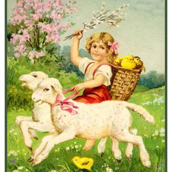 Vintage Easter Young Girl Riding Lambs with  Baby Chicks Counted Cross Stitch Pattern