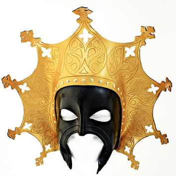 Byzantine inspired leather mask in black and gold.