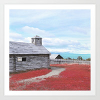 Cabin and colorful grass Art Print by vivianagonzalez