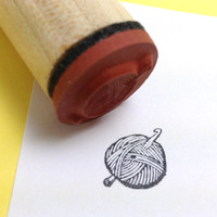 Yarn Ball with Crochet Hook Rubber Stamp