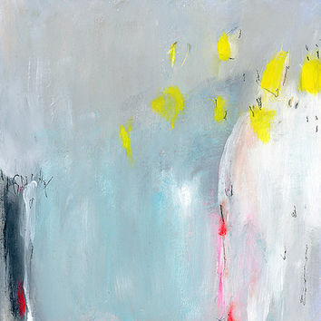 """Acrylic Painting. Original abstract art. Contemporary art. Grey, teal, yellow, white, Gift for her 12x12"""""""