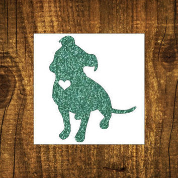 GLITTER Pitbull Heart Decal | Pitbull Mom Decal | Dog Mom Decal | Dog Dad Decal | Dog Family Decal | Love Sticker | Love Decal  | 174