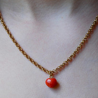Vintage Red Coral Heart Pendant Necklace 1/20 12K Gold Filled Open Rope Chain Anniversary Gift // Vintage Fine Jewelry
