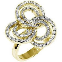 Pave Swirls Fashion Ring, size : 10