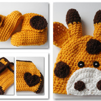Giraffe Baby Crochet Set -  Baby Beanie - Diaper Cover - Booties - Set - Handmade - Crochet - Made to Order