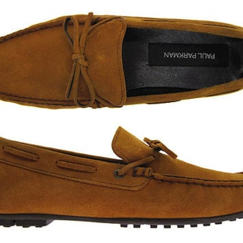 Paul Parkman Men's Driving Moccasin Tobacco Suede With Rubber Sole