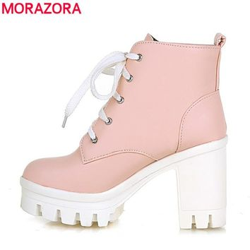 MORAZORA 2017 New Fashion sexy women's ankle boots high heels Punk platform Women winter autumn boots ladies shoes