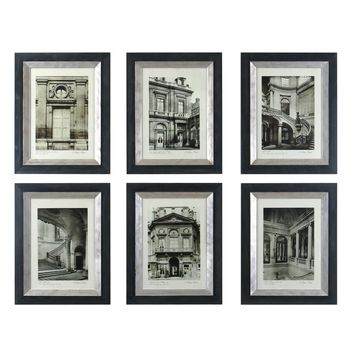 Paris Scene I, II, III, IV, V, VI by Grace Feyock 6 Piece Painting Print Shadow Box Set