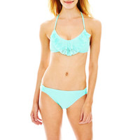 Arizona Laser-Cut Bralette Swim Top or Solid Hipster Bottoms - Juniors