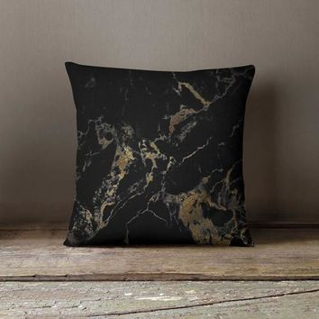 Black Gold Marble Design Pillow Cover