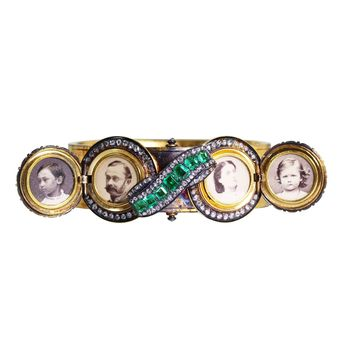 Antique Emerald Diamond Gold Portrait Bangle Bracelet