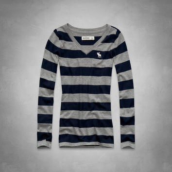 striped long sleeve v-neck tee