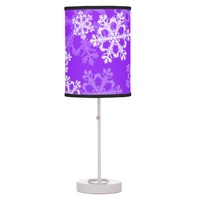 Cute Purple and white Christmas white snowflakes Table Lamp