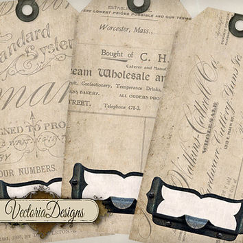 Ephemera Tags shabby chic printable gift tags instant download digital Collage Sheet VD0492