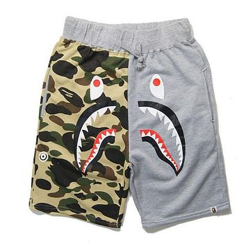 BAPE AAPE Summer Popular Men Women Camouflage Shark Mouth Print Sports Running Shorts Grey