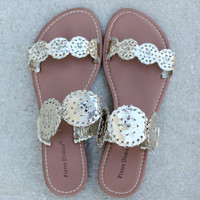 Two Strap Preppy Sandal - Gold