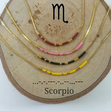 SCORPIO Morse Code necklace, CUSTOM morse code, Secret Message, Dainty necklace, Personalized, Morse code jewelry, Birth necklace, BFF Gift