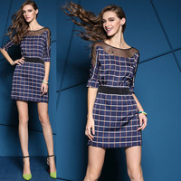 Sheer Mesh Checkered Shift Mini Dress