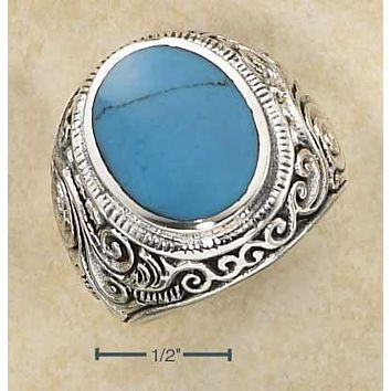 STERLING SILVER MENS SCROLL DESIGN OVAL SIMULATED TURQUOISE RING