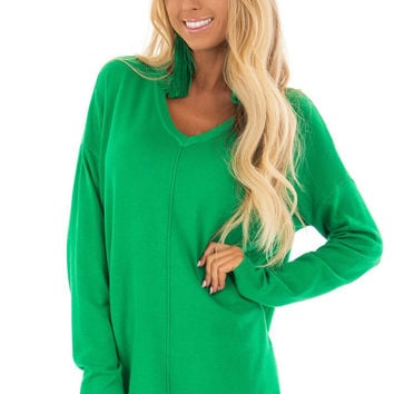 Kelly Green V Neck Long Sleeve Sweater