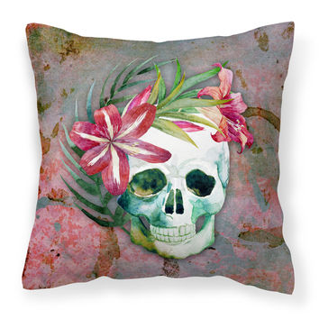 Day of the Dead Skull Flowers Fabric Decorative Pillow BB5125PW1818