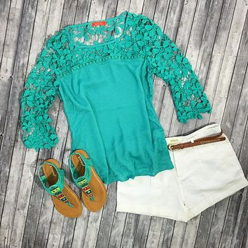 Innocent Flirt Lace Top - Mint