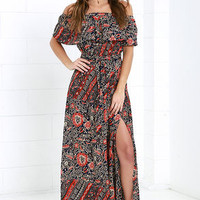 Welcome to the Tropics Navy Print Maxi Dress