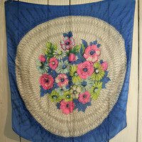 Vintage Silk Scarf Floral Medallion Scarf Circa 1930s Blue with Pink Blue and Yellow Flowers Black and White Background Wall Decor Fashion