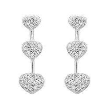 Diamond Heart Journey Earrings : 14K White Gold - 0.50 CT Diamonds