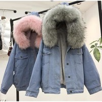 Lisa Colly Women Winter Thick Jean Jacket Blue Warm Denim Coat jacket Overcoat Faux Fur Collar With Hooded Lamb Fur Cotton coat