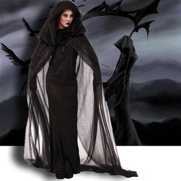 Halloween Costumes For Women Ghosts Specter Witches Death Robes Long Maxi Cosplay Fancy Party Dress Costumes Wth Robe Gloves