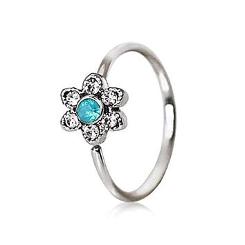 316L Stainless Steel Synthetic Jeweled Aqua Flower WildKlass Cartilage Earring/Nose Hoop Ring