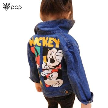 Boys Girls Cartoon Pattern Cowboy Jackets Denim Clothes Long-sleeve Girls Coat and Jackets Kids Girls Jackets Children's clothes