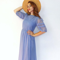 Antique Style Southern Belle Perriwinkle Blue Maxi Sheer Gown Romantic Summer Sun Dress Alice in Wonderland Dessy Creations Little Bo Peep