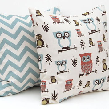 Owl & Chevron Accent Pillow - 16 x 16 Inches