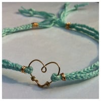 Light Blue Braided Hemp Ankle Bracelet with Gold Heart