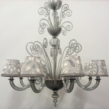 Authentic Italian Murano Grey Hand Blown Glass Chandelier with Rubelli Fabric Lampshades - Made in Venice