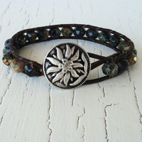 Boho Leather Wrap Bracelet Navy and Brown Bracelet, Tan and Brown, Weathered Stone Rustic, Neutral, Boho Chic, Bohemian, Fall Fashion