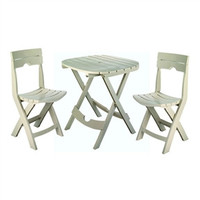 3-Piece Folding Outdoor Patio Furniture Bistro Set in Desert Clay Color