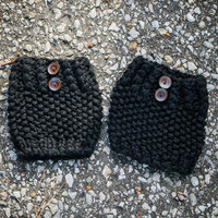 Secret Garden Thick Knit Boot Cuffs With Button Detail