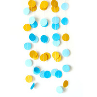 Blue and Yellow Circle Felt Garland - home decor, felt bunting, circus garland banner, birthday decorations