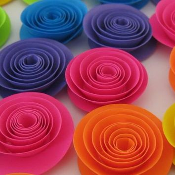 "Shocking Neon Rainbow Roses, set of 12, 1.5"" paper flowers, 80's theme birthday, skating party decor, wedding decorations, baby shower gift idea"