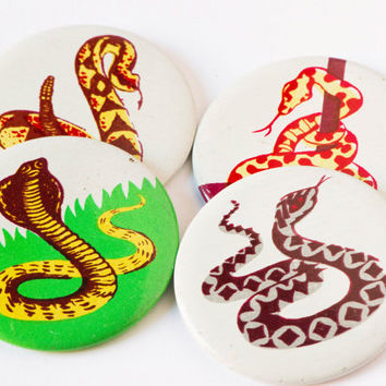 Vintage snake pins Soviet pinback button badges 4 serpent viper cobra  green yellow pins