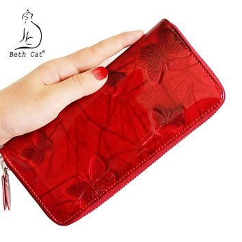 Bat Cat Women Wallet Genuine Leather Butterfly Print Fashion Zipper Long Wallets Clutch Lady Vintage Clutch Bag Coin Purse