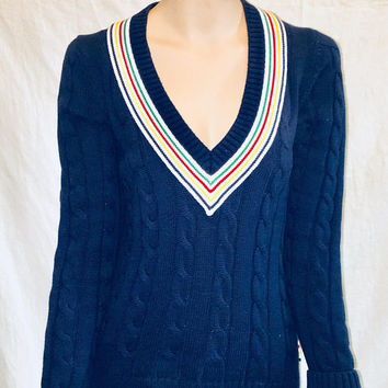 VTG RARE 1990's Hudson Bay V Neck Sweater, Navy with Classic Strips, Size S, Antique Alchemy