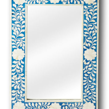 Wall Mirror Blue Bone Inlay | Handmade Moroccan Mirror Boho Chic Decor | Free Shipping