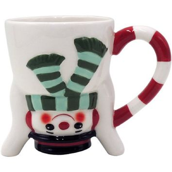 Holiday Time Snowman Upside Down Mug