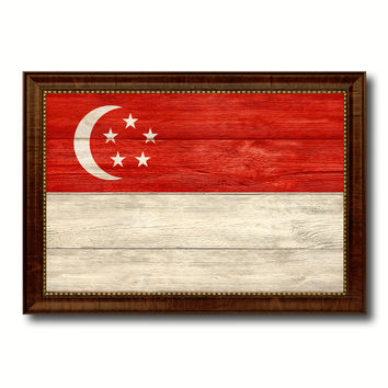 Singapore Country Flag Texture Canvas Print with Brown Custom Picture Frame Home Decor Gift Ideas Wall Art Decoration