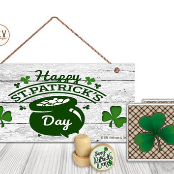 "Gift Set, 4 PC, Happy St. Patrick's Day Gift Set, 5"" x 10"" Wood Sign, Two Drink Coasters, One Decorative Wine Stopper, Made To Order"